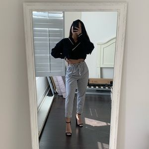 Paperbag waist white and grey striped pants